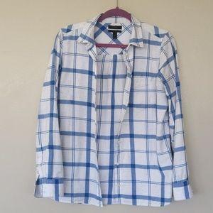 JCrew Boy Shirt Blue and White Linen